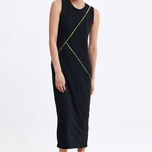 NWT ZARA SEAM DETAIL MAXI DRESS BLACK S